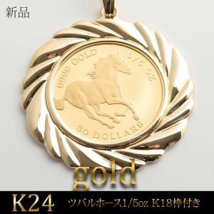 K24ツバルホース1/5oz K18枠付き ペンダントトップ