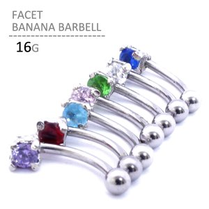 ボディピアス ボディーピアス ファセットバナナバーベル 16G|jewels-store