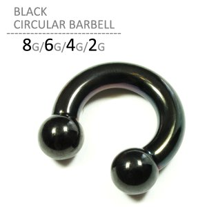 ボディピアス 8G 6G 4G 2G ブラックサーキュラーバーベル 耳 耳ピアス 拡張 ラージホール ステンレス ボディーピアス jewels-store