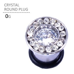 ボディピアス 0G クリスタルラウンドプラグ 耳ピアス 拡張 シンプル ステンレス Oリング ボディーピアス|jewels-store