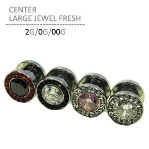 ボディピアス 2G 0G 00G センターラージジュエルフレッシュ 拡張 耳ピアス 大粒 シルバー|jewels-store