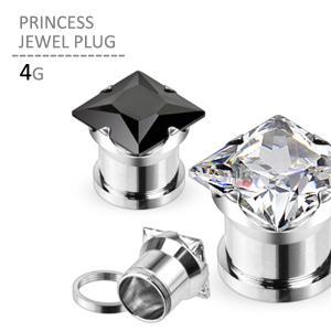 ボディピアス 4G プリンセスジュエルプラグ 耳ピアス 拡張 シンプル ラージホール ステンレス jewels-store