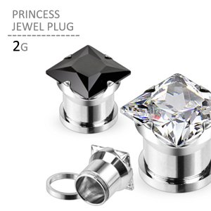 ボディピアス 2G プリンセスジュエルプラグ 耳ピアス 拡張 シンプル ラージホール ステンレス jewels-store