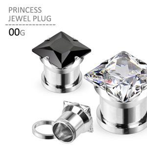 ボディピアス 00G プリンセスジュエルプラグ 耳ピアス 拡張 シンプル ラージホール ステンレス jewels-store