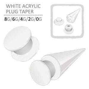 ボディピアス ホワイトアクリルプラグテーパー 8G 6G 4G 2G 0G 00G 拡張|jewels-store