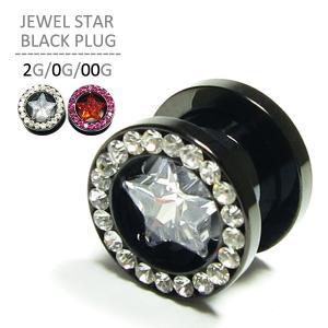 ボディピアス ジュエルスターブラックプラグ/2G・0G・00G 拡張|jewels-store