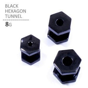 ボディピアス 8G ブラックヘキサゴントンネル 耳ピアス シンプル 六角形 拡張 ブラック ボディーピアス|jewels-store