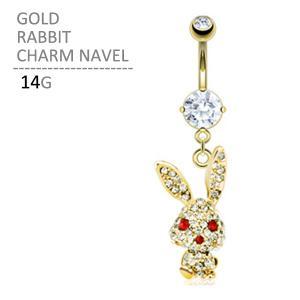 ボディピアス ゴールドラビットチャームネイブル 14G へそピアス|jewels-store