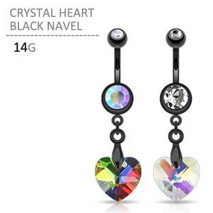 ボディピアス ボディーピアス クリスタルハートブラックネイブル 14G|jewels-store