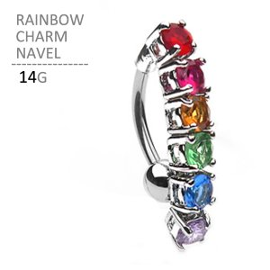 ボディピアス ボディーピアス レインボーチャームネイブル 14G|jewels-store