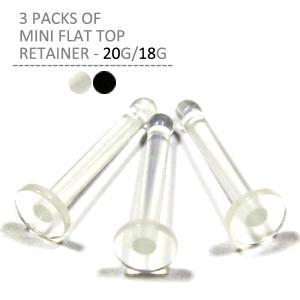 透明ピアス 20G 18G ボディピアス ミニフラットトップリテーナー 3個パック|jewels-store