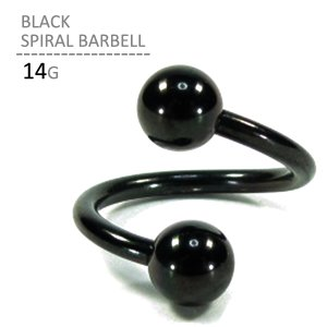 ボディピアス ボディーピアス ブラックスパイラルバーベル 14G|jewels-store