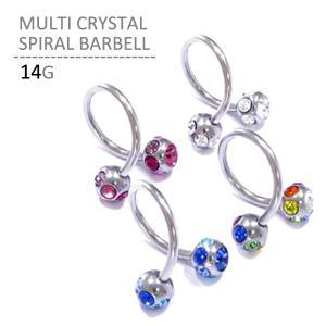 ボディピアス ボディーピアス マルチクリスタルスパイラル 14G|jewels-store