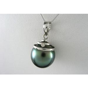 K18WG ホワイトゴールド 極上タヒチパール ネックレス 黒蝶貝11.5mm ダイヤモンド D0.01ct jewelselect 02