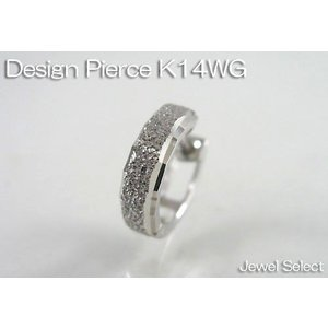 K14WG ホワイトゴールド ミラーカット&ブラスト リングピアス片耳用 jewelselect