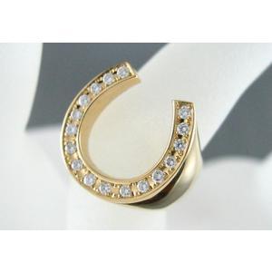K18 イエローゴールド 無垢 馬蹄 ダイヤモンドリング 指輪 D0.2ctup|jewelselect|02