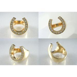 K18 イエローゴールド 無垢 馬蹄 ダイヤモンドリング 指輪 D0.2ctup|jewelselect|03