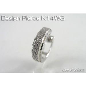 K14WG ホワイトゴールド ミラーカット&ブラスト リングピアス片耳用|jewelselect