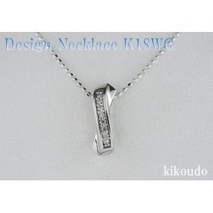 K18WG ホワイトゴールド プチネックレス ウェーブ D0.03ct|jewelselect