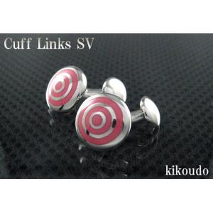 シルバー925 銀無垢 カフリンクス エナメルピンク CLF-11P カフスボタン|jewelselect