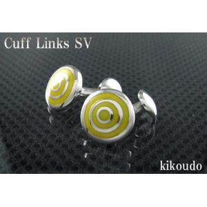 シルバー925 銀無垢 カフリンクス エナメルイエロー CLF-11Y カフスボタン|jewelselect
