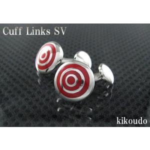 シルバー925 銀無垢 カフリンクス エナメルレッド CLF-11R カフスボタン|jewelselect