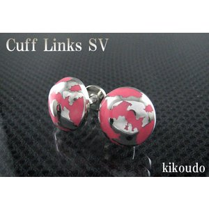 シルバー925 カフリンクス エナメルピンク CLF-12P カフスボタン|jewelselect
