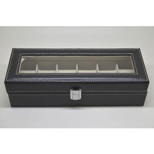 合成革 腕時計収納ボックス 6本収納 ブラック|jewelselect