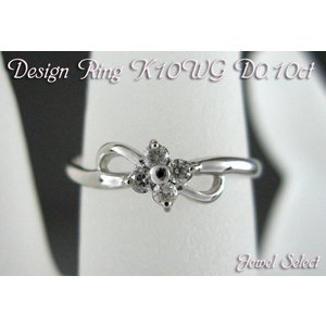 K10WG ホワイトゴールド ダイヤモンド リング クローバー D0.1ct 指輪|jewelselect