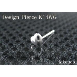 K14WG ホワイトゴールド ハート スタッドピアス片耳用|jewelselect