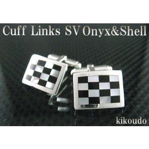 シルバー925 カフリンクス 白蝶貝 オニキス CLM-2CO カフスボタン|jewelselect