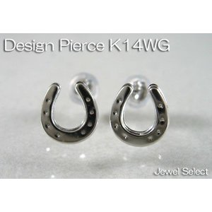 K14WG ホワイトゴールド 馬蹄 スタッドピアス両耳用|jewelselect