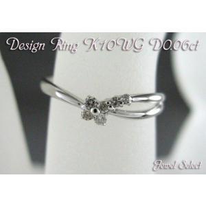 K10WG ホワイトゴールド ダイヤモンド リング メレクローバー2 D0.06ct 指輪|jewelselect