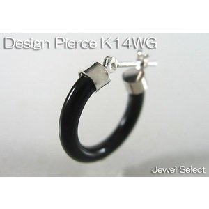 K14WG ホワイトゴールド オニキス フープピアス片耳用|jewelselect