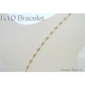 K10 イエローゴールド エクレア ブレスレット 18cm|jewelselect
