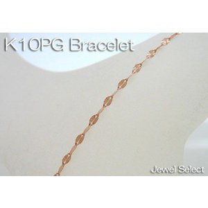 K10PG ピンクゴールド カットエクレア ブレスレット 18cm|jewelselect