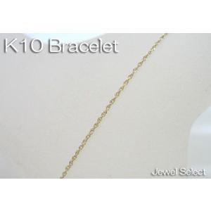 K10 イエローゴールド ダブルスクリュー ブレスレット 18cm|jewelselect
