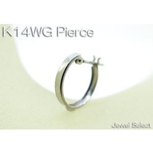 K14WG ホワイトゴールド スタンダード リングピアス方耳用|jewelselect