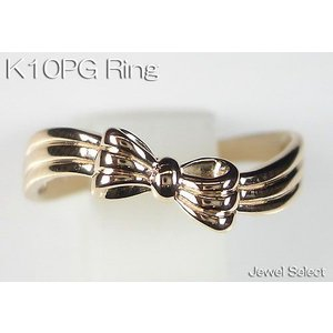 K10PG ピンクゴールド リボン リング 指輪|jewelselect