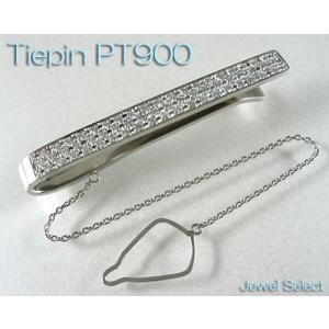 PT900 プラチナ 無垢 ダイヤモンド ネクタイ タイバー タイピン D0.8ctup|jewelselect