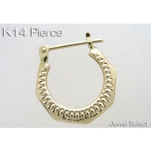 K14 イエローゴールド 馬蹄 リングピアス片耳用|jewelselect