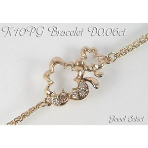 K10PG ピンクゴールド ブレスレット クローバー ダイヤ0.06ct 18cm|jewelselect