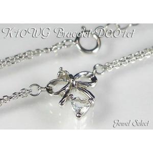 K10WG ホワイトゴールド リボン&ハート ブレスレット アクアマリン ダイヤモンド 0.01ct 18cm|jewelselect