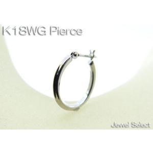 K18WG ホワイトゴールド 角パイプフープピアス リングピアス片耳用|jewelselect