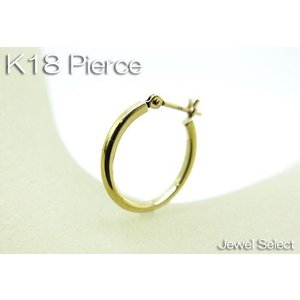 K18 イエローゴールド 角パイプフープピアス リングピアス片耳用|jewelselect