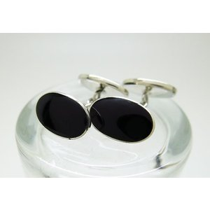 シルバー925 ダブルオーバル オニキス チェーン式 カフスボタン カフリンクス|jewelselect