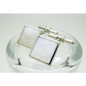 シルバー925 白蝶貝 チェーン式 カフスボタン カフリンクス|jewelselect
