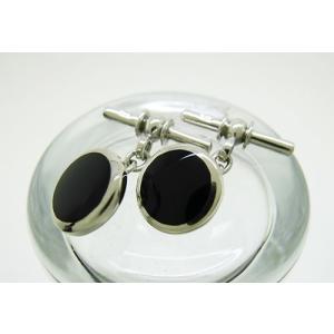 シルバー925 ラウンド オニキス チェーン式 カフスボタン カフリンクス|jewelselect