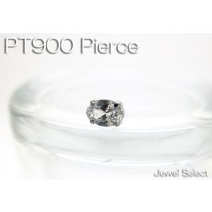 PT900 プラチナ シグニティ キュービックジルコニア オーバルカット スタッドピアス方耳用|jewelselect