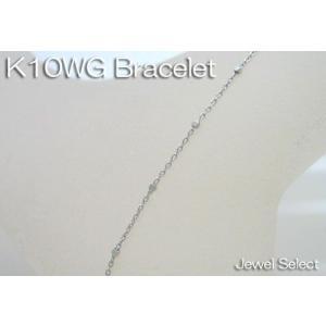 K10WG ホワイトゴールド グリッター ブレスレット 18cm|jewelselect